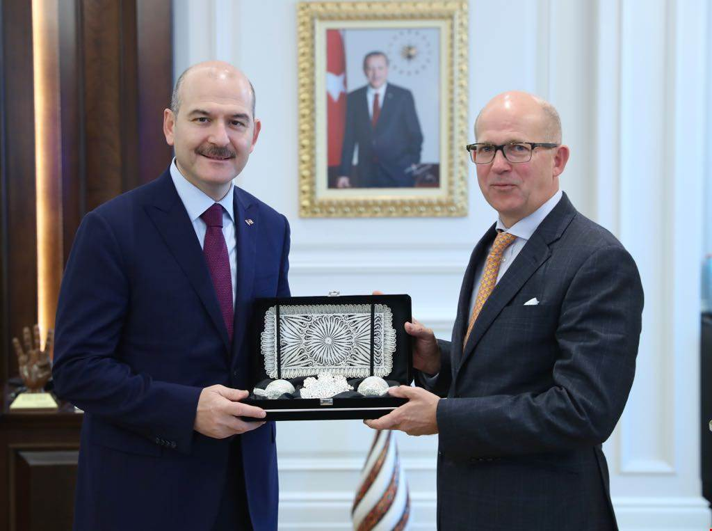 Minister Soylu received British Ambassador to Turkey Mr. Dominick Chilcott.