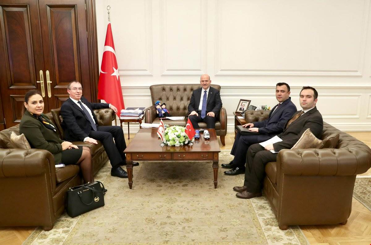 Minister Soylu received Mr. Kemal Köprülü, the Ambassador of TRNC