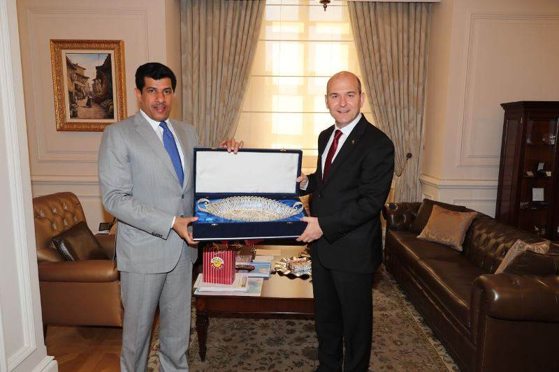 Minister of Interior Soylu received Qatar's Ambassador to Turkey